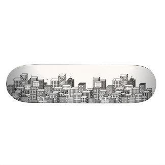 Vector Cityscape (Black & White) Skateboard Decks