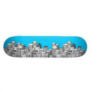 Vector Cityscape Sky Blue Background Skate Boards