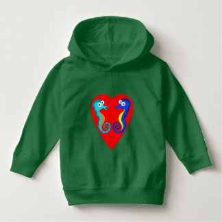 Vector Coloured  Seahorses  Heart Hoodie