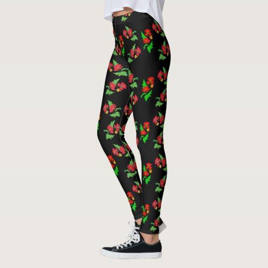 Vector colourful poppy flower leggings