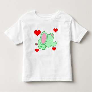 Vector Cute cartoon   Elephant with hearts Toddler T-Shirt