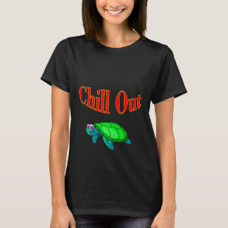 Vector Cute Cartoon  Turtle wtih Text Chill Out T-Shirt
