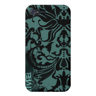 Vector Damask Retro Dot-change teal to any color iPhone 4/4S Cases
