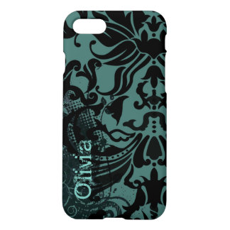 Vector Damask Retro Dot-change teal to any color iPhone 7 Case