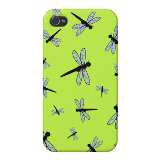 Vector Dragonfly Collage (Green Background) iPhone 4 Covers
