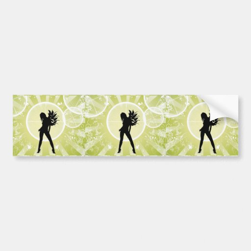 Vector Fashion Girl with Abstract Background GREEN Bumper Sticker