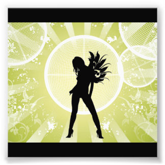 Vector Fashion Girl with Abstract Background GREEN Photo Art