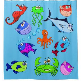 Vector  Fish Shower Curtain