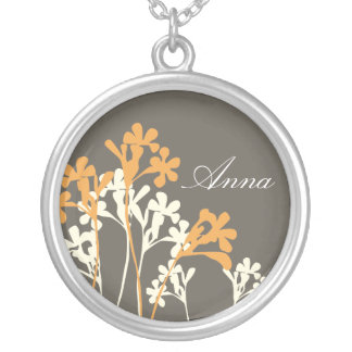 Vector Floral Design Dark Name Necklace