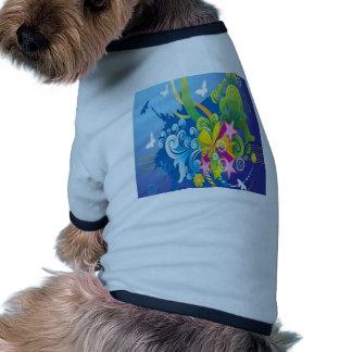 Vector floral design doggie shirt