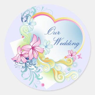 Vector Flowers And Heart Wedding Sticker-Purple
