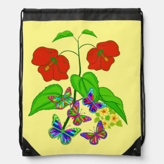 Vector Flowers with Buttflies Drawstring Bag