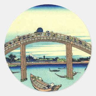 Vector Fuji through the Mannen bridge Round Sticker