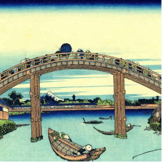 Vector Fuji through the Mannen bridge Standing Photo Sculpture