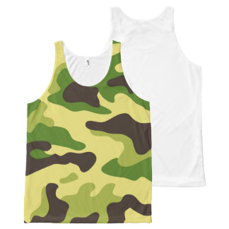Vector Green Camouflage Pattern All-Over Print Tank Top