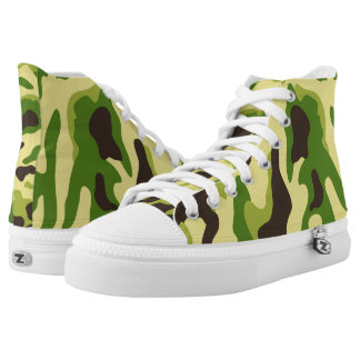 Vector Green Camouflage Pattern High Tops