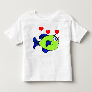 Vector Green  Cartoon  Puffer Fish with hearts Toddler T-Shirt