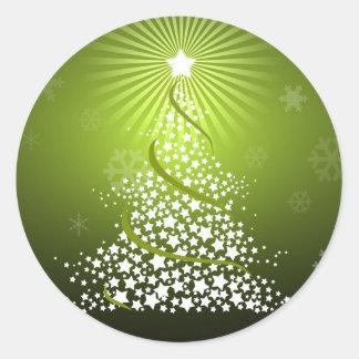 Vector Green Christmas Tree Round Sticker