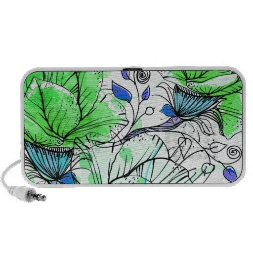 Vector green flowers iPod speakers