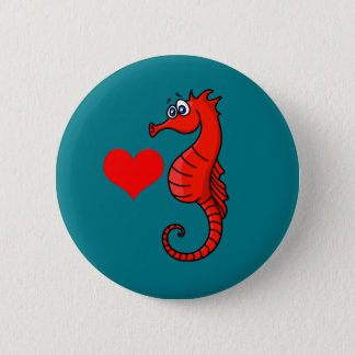 Vector  Heart and Seahorse 6 Cm Round Badge