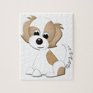 Vector illustration of a puppy jigsaw puzzle