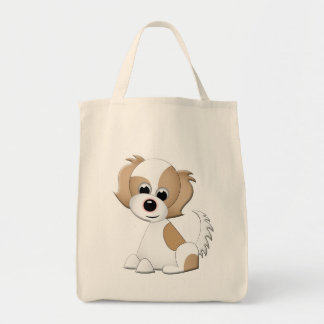 Vector illustration of a puppy tote bag