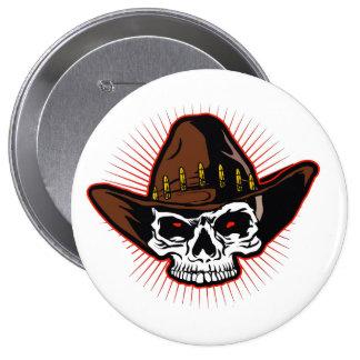 Vector illustration of Cowboy skull 10 Cm Round Badge
