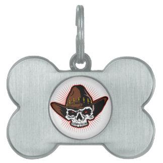 Vector illustration of Cowboy skull Pet Name Tags