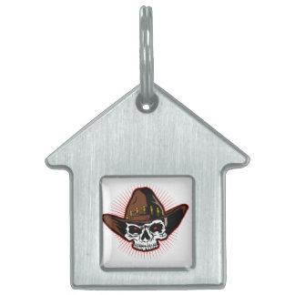 Vector illustration of Cowboy skull Pet Tag