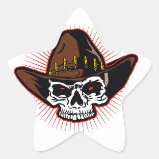 Vector illustration of Cowboy skull Star Sticker