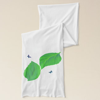 Vector Leaves with Blue butterflys Scarf