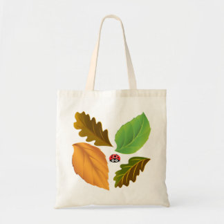 Vector Leaves with Ladybird Tote Bag