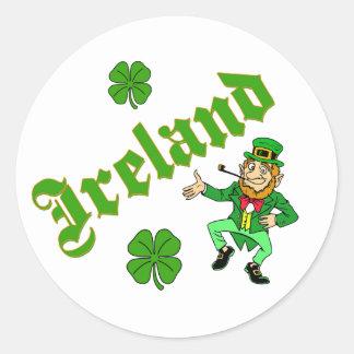 Vector - Leprechaun Clover  Ireland Round Sticker
