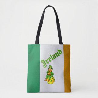 Vector Leprechaun, Clover, text  Ireland Tote Bag