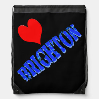 Vector Love BRIGHTON  text Drawstring Bag