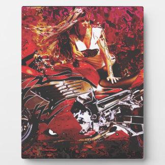vector motorcycle girl jpg photo plaque
