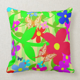 Vector of abstract flower with Butterflies Cushion