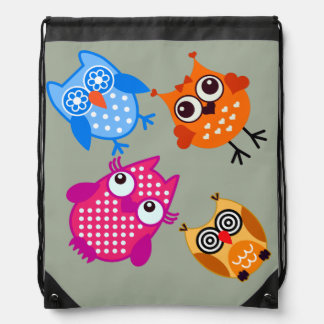 Vector Owls Drawstring Bag