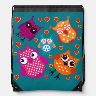 Vector Owls with hearts Drawstring Bag