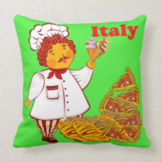 Vector Pizza, ice cream, man Italy Throw Pillow