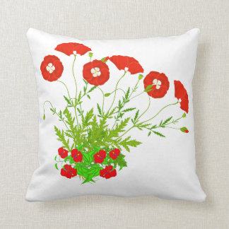 Vector Poppies and Red Flowers Cushion