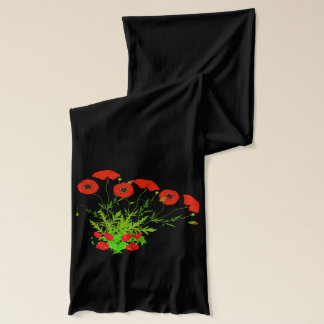 Vector  Poppies and Red Flowers Scarf