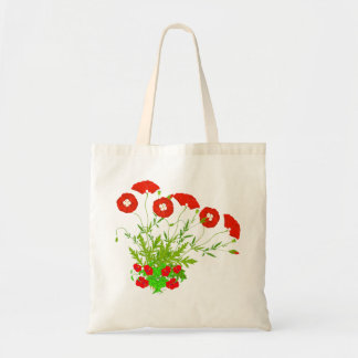 Vector  Poppies and Red Flowers Tote Bag