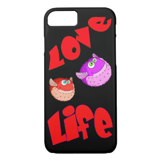 Vector Puffer fish and Text Love Life iPhone 8/7 Case