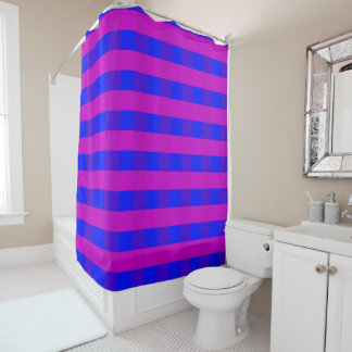 Vector purple and blue checked pattern shower curtain