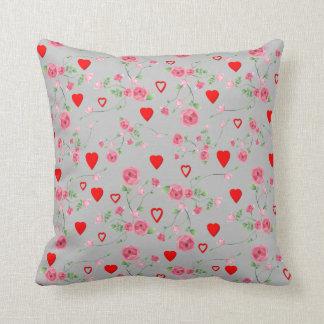 Vector Seamless rose and Hearts Cushion