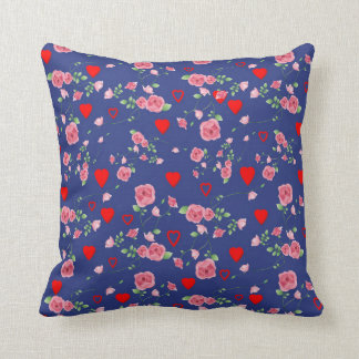Vector Seamless rose and Hearts Cushion
