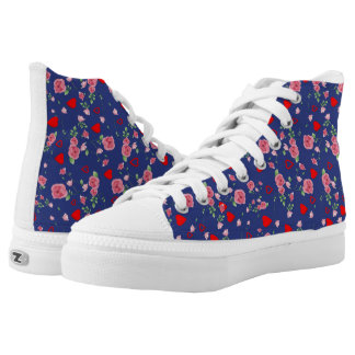 Vector Seamless rose and Hearts High Tops