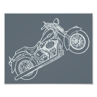 Vector Silhouette Classic  Motorbike Photo Print