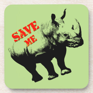 Vector  Silhouette Rhino  Save Me Coaster
